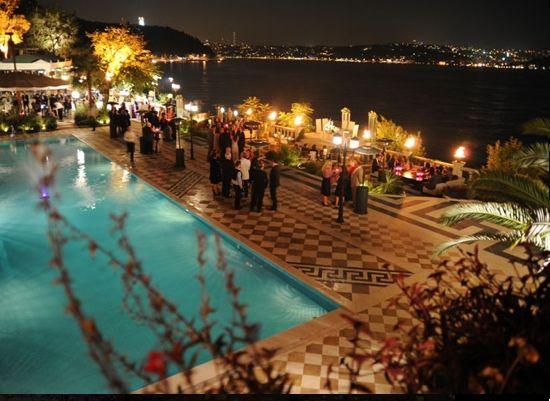 The restaurant has spectacular views of the bosporus