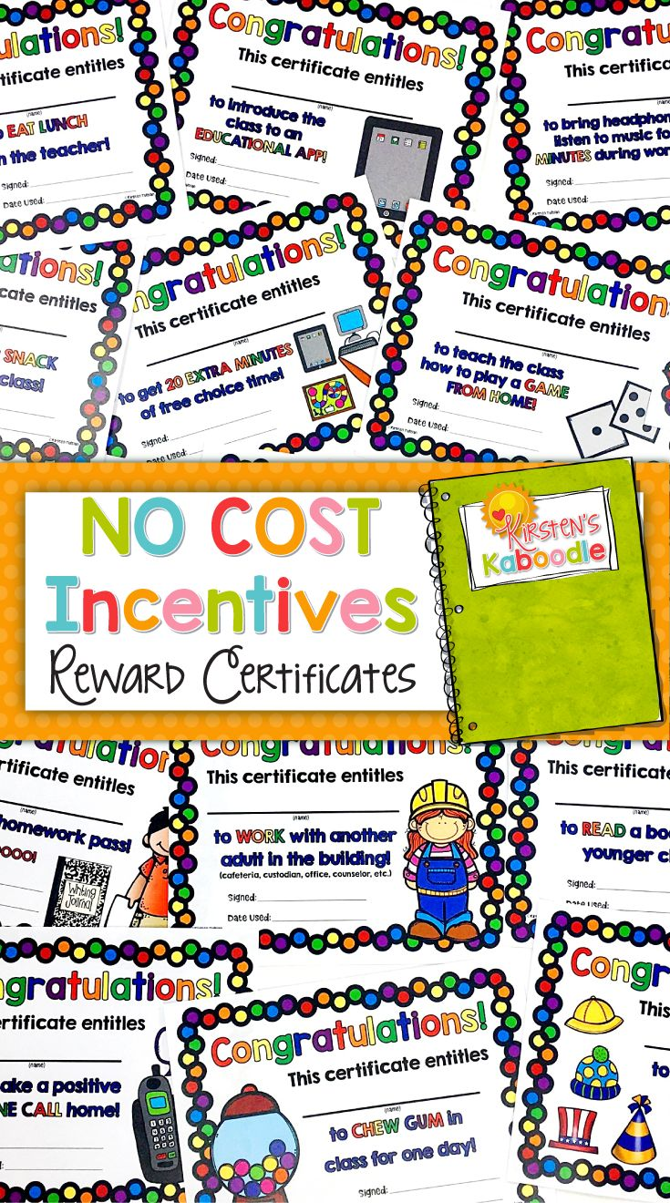 These Reward and Incentive Certificate Coupons for academic and behavior reinforcement are perfect for the teacher who wants to give no cost rewards for student achievement (or behavior). There are 25 reward certificates in the product (each incentive coupon comes in full color and black and white), as well as a teacher tips page and a table of contents.