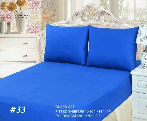 #sale Submerge yourself in comfort with our Deep Blue Bed set. Let the #cool #blue sheets wash upon you like waves upon the sand. The Fitted sheet goes between th...