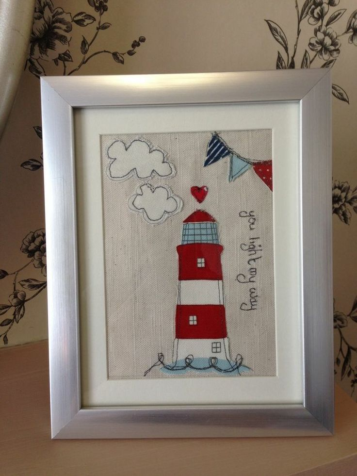 Personalised Light House Beach Hut Seaside Nautical Sewn Fabric Picture Framed