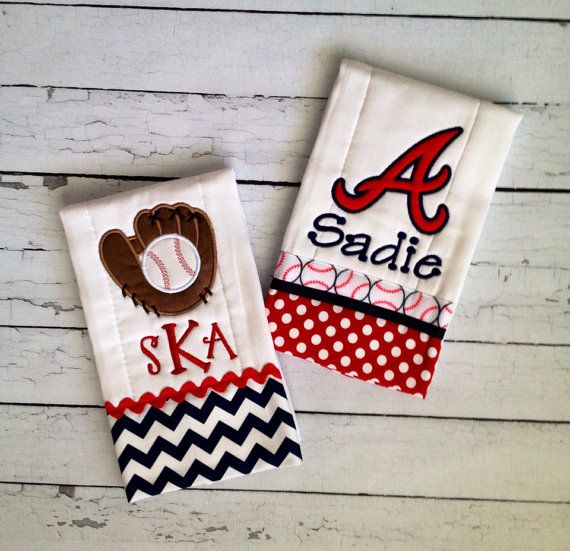 Personalized Atlanta Braves Baby Burp Cloth by LauraKateMonograms, $26.00
