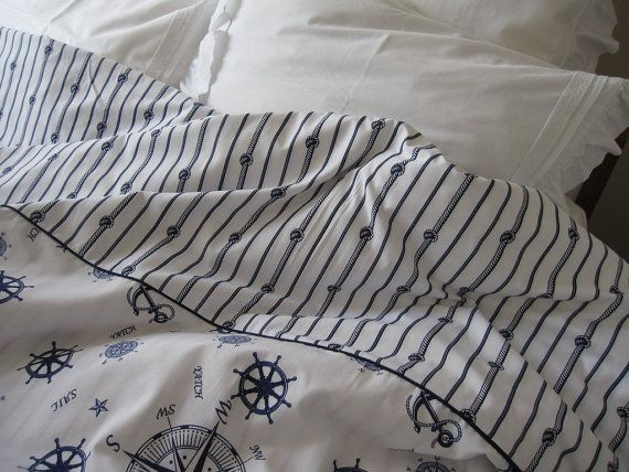 nautical bedding queen or full size duvet cover navy chain stripes anchor shabby chic beach cottage style yatch cabin decoration - Queen Size Duvet Cover
