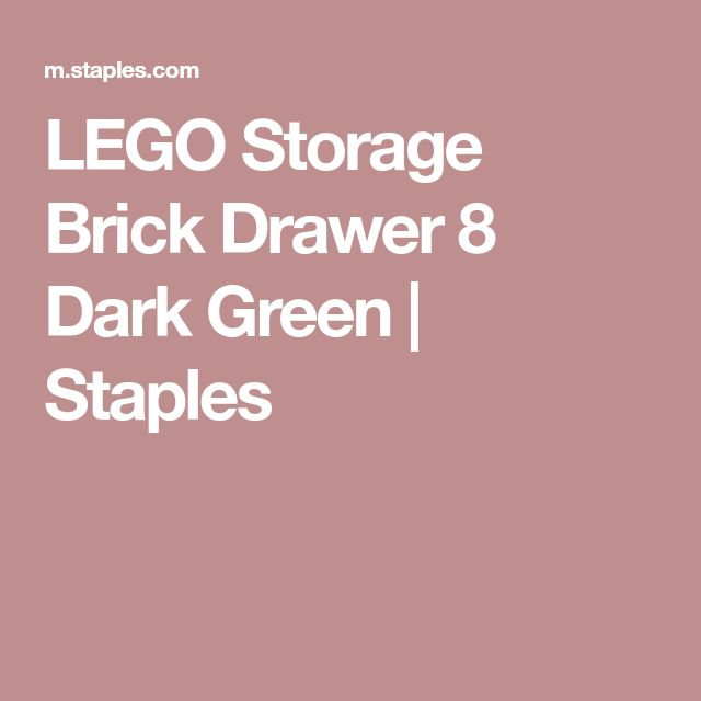 LEGO Storage Brick Drawer 8 Dark Green | Staples