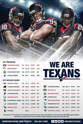 Texans 2015-16 Game Schedule