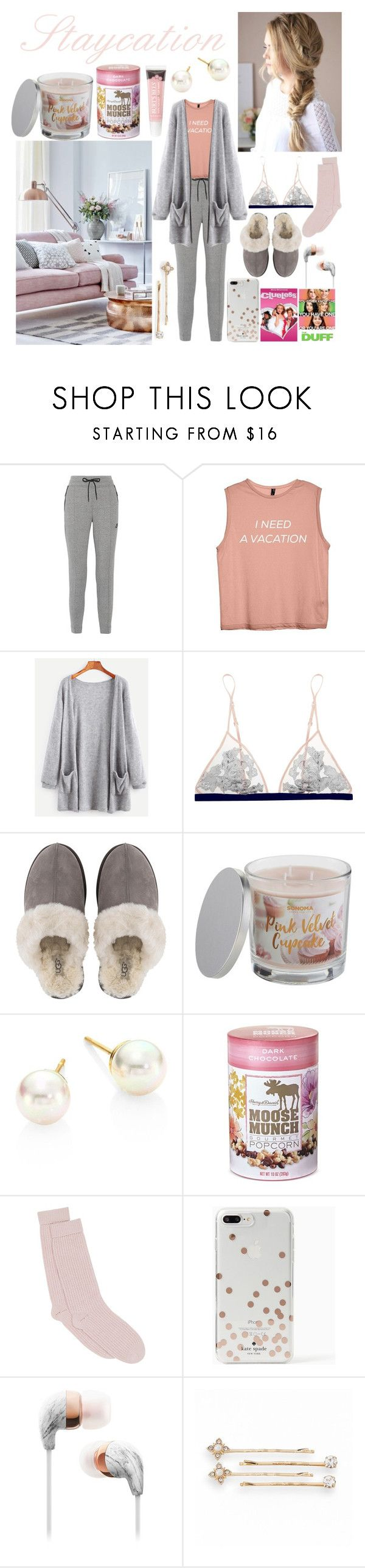 """Staycation"" by dreamscomeincolour ❤ liked on Polyvore featuring NIKE, La Perla, UGG, SONOMA Goods for Life, Majorica, Harry & David, Pepper & Mayne, Kate Spade and LC Lauren Conrad"