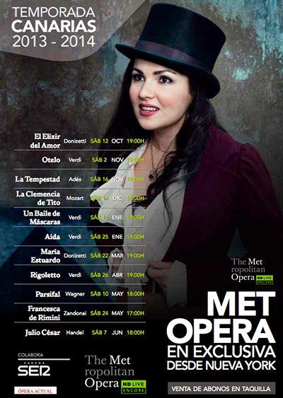 """Por primera vez se podrá disfrutar en Canarias de la temporada de ópera del """"Metropolitan Ópera House de Nueva York"""", gracias a Yelmo Cines Meridiano."""