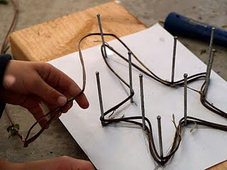 Vine stars-from The Magic Onion. You could do this with any shape.  Could do this with baling or barb wire.