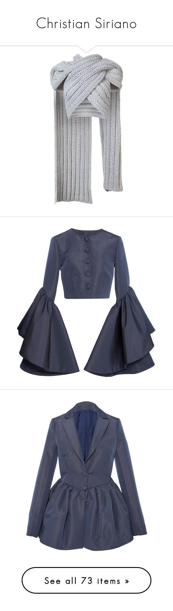 """Christian Siriano"" by mari-sv ❤ liked on Polyvore featuring grey, christian siriano, outerwear, jackets, blazers, blue peplum jacket, peplum blazer jacket, long sleeve blazer, blue peplum blazer and peplum blazer"