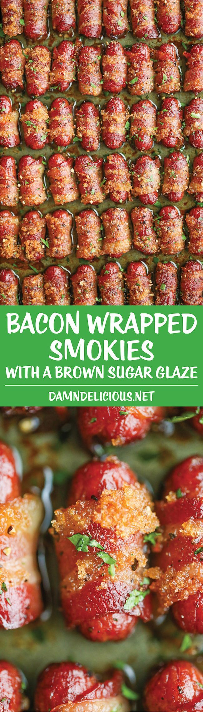 Smokies are already a huge hit on game day, make them even better by wrapping them in bacon and pouring on a brown sugar glaze.