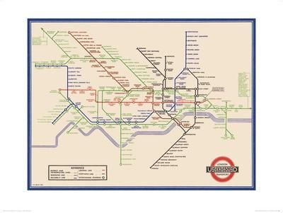 London Underground Map, Harry Beck, 1933 Art Print by Transport for London at Art.com