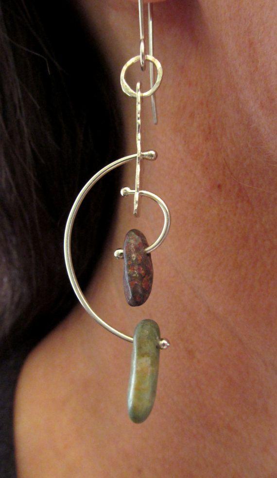 Earrings - Sterling Silver - Modernist Style Hoop Kinetic - Beach Stone - Silversmith - RMD Designs