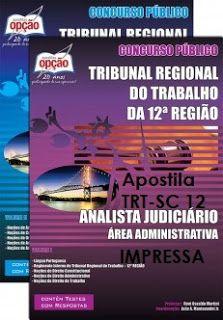 Apostila impressa TRT-12 Região Analista Judiciário, cargo Área Judiciária