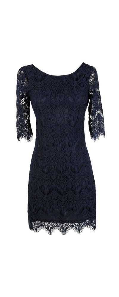 Vintage-Inspired Lace Overlay Dress in Navy  www.lilyboutique.com