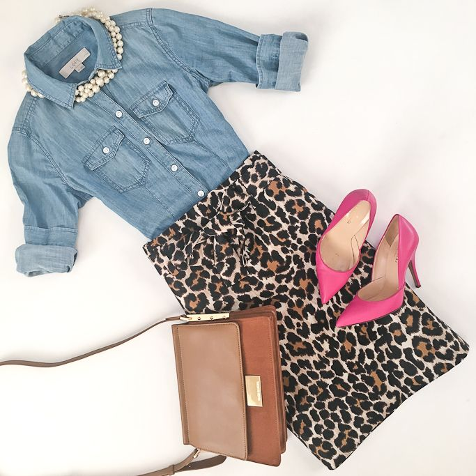 Chambray shirt, leopard tie waist skirt, pink pumps, camel purse, work outfit, fall outfit - click the photo for outfit details!