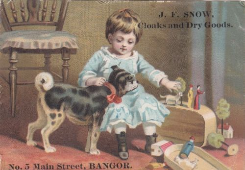 J F Snow Cloaks Dry Goods Bangor Me Clark's Ont Thread Girl Dog Toys 1880s | eBay
