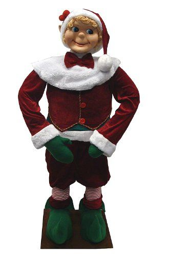 Vickerman 21337100 Huge Life-Sized Standing Decorative Plush Christmas Elf, 4' -- Continue to the product at the image link. (This is an affiliate link) #CollectibleFigurines