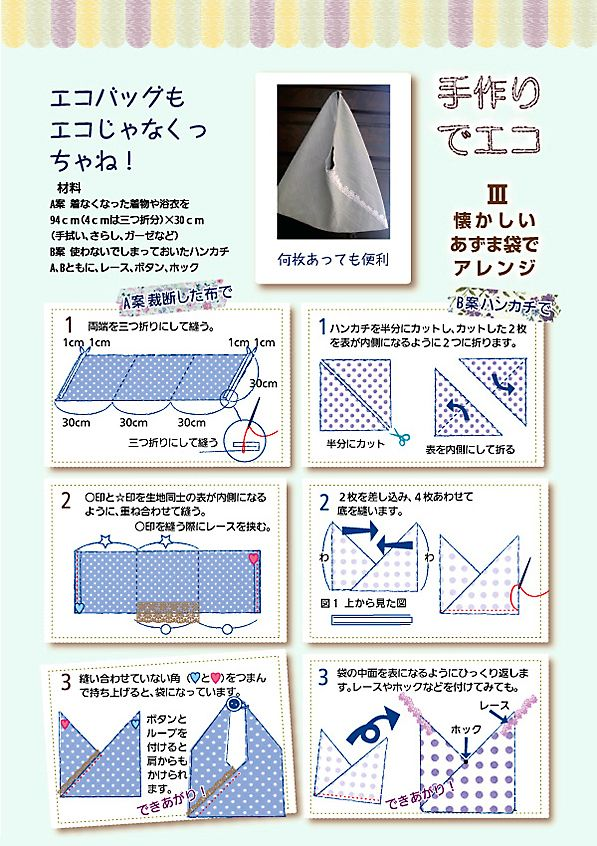 遊和5号:手作りでエコ 懐かしいあずま袋でアレンジ ‐遊和-yuwa-公式サイト | IHM健康情報誌 バックナンバー‐