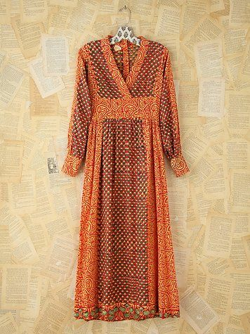 Free People Vintage Printed Kaftan Dress With my brown hair and some brown boots in Autumn.