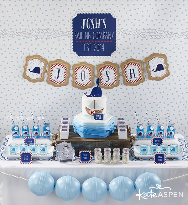 Nautical First Birthday Party Ideas | Sailing Party | www.kateaspen.com | Kate Aspen | Red White & Blue | Nautical Birthday Cake