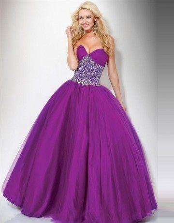 (NO.038352 )2011 Style Ball Gown Sweetheart  Rhinestone Sleeveless Floor-length Tulle  Grape Prom Dress / Evening Dress