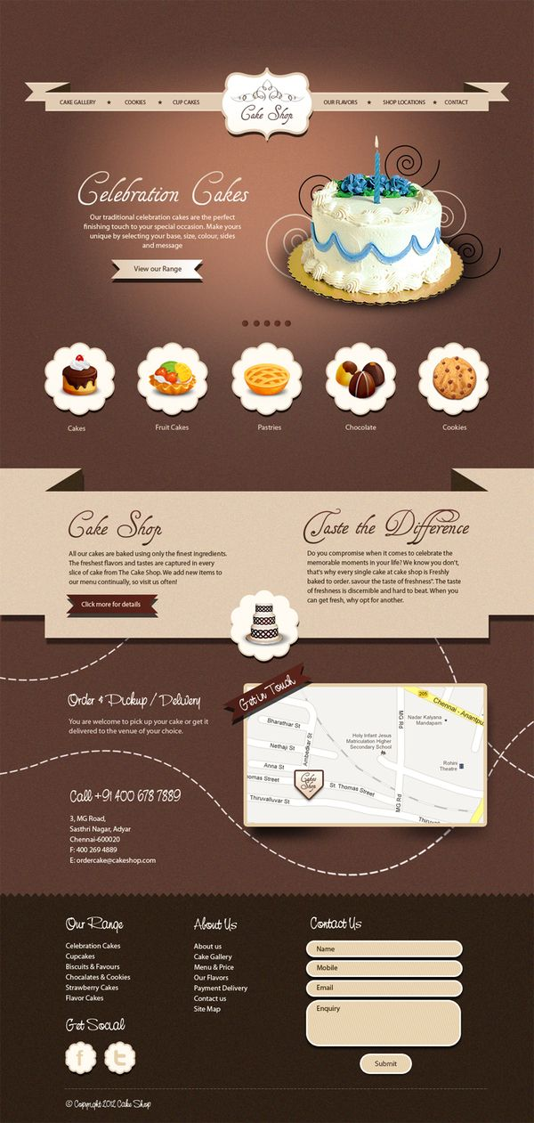 Conceptual design for Cake Shop Website by Raghukumar , via Behance