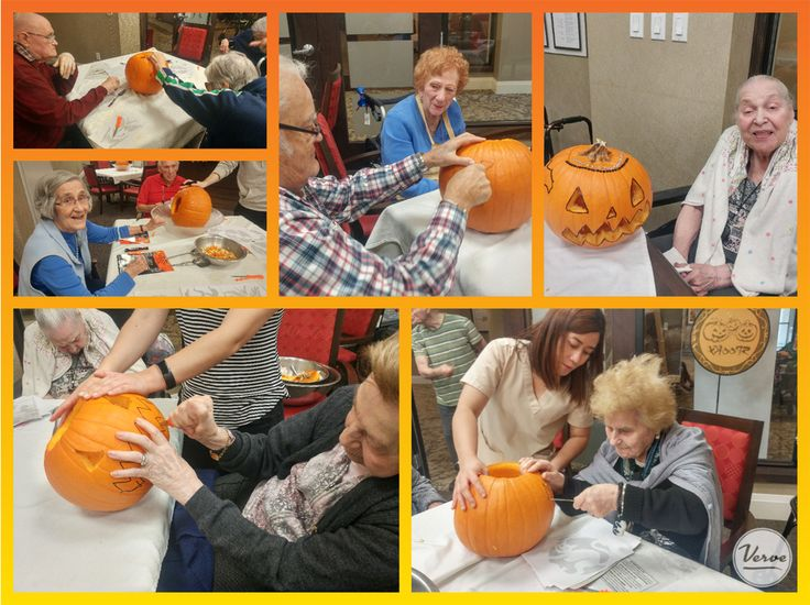 Four Elms residents enjoyed painting and decorating their pumpkins.🎃 #Halloween