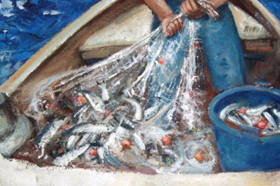 Pescatore di Napoli - (particolare pesci in rete) pittura ad olio su tela - eseguito da Pasquale Scognamiglio - situato nbella casa nativa nei quartieri spagnoli - dipinto dedicato al nonno pescatore