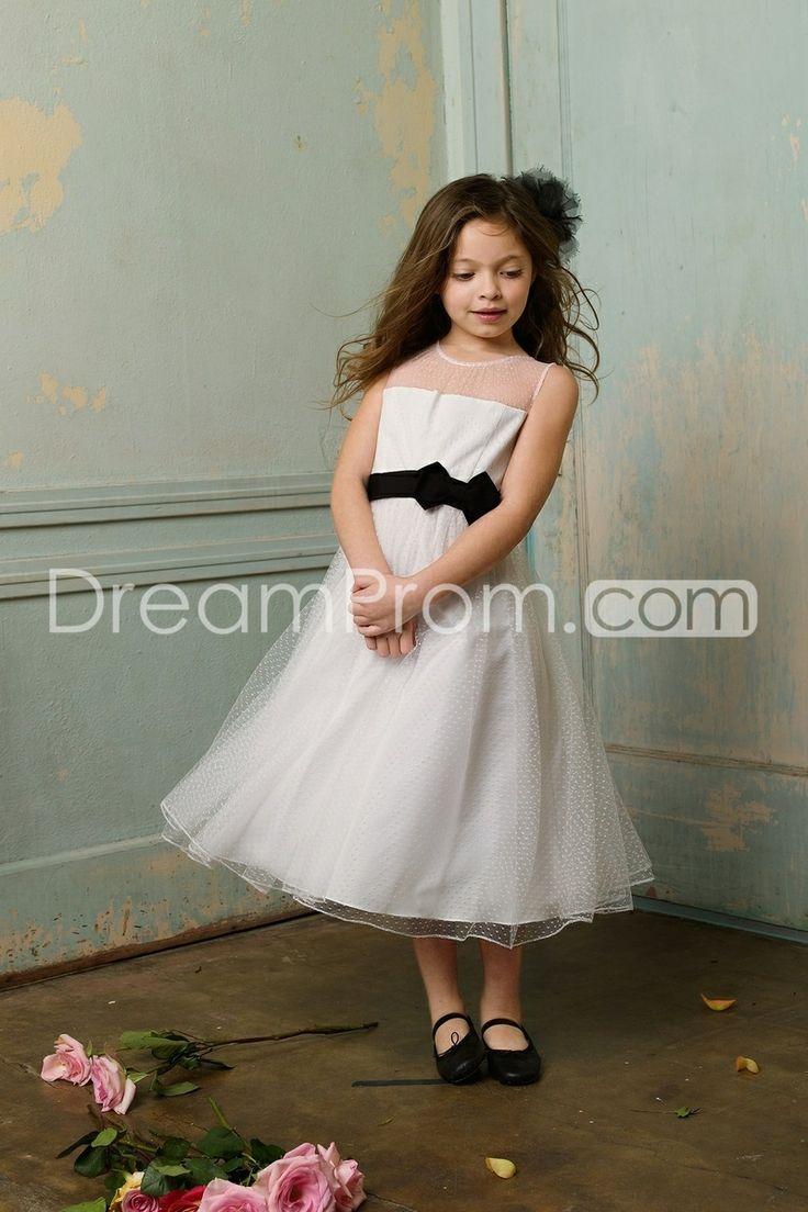 Fantastic A-line Scoop Tea-length Bowknot Flower Girl Dress