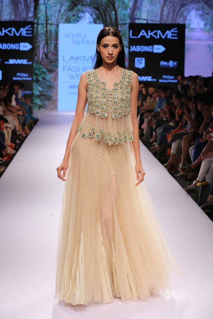 Arpita Mehta Beige #Lehenga With Embroidered #Blouse At Lakme Fashion Week 2015.