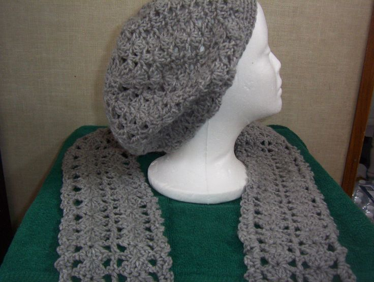 Crocheted Lacy Light Gray Slouch Hat and Scarf Set by Gifts4u2 on Etsy