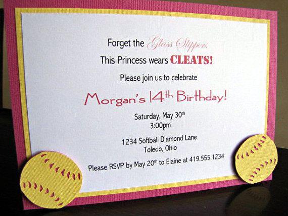Softball Party Invitations Softball Birthday by ScrapYourStory