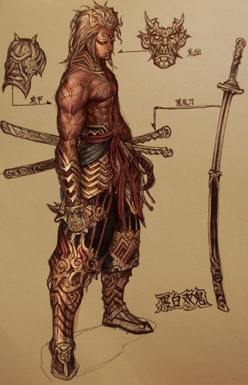 Referência para pose de demônio samurai