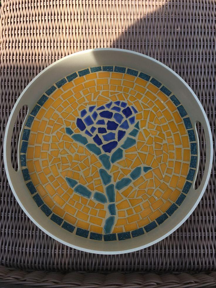 Mosaic tray 'hortensia'