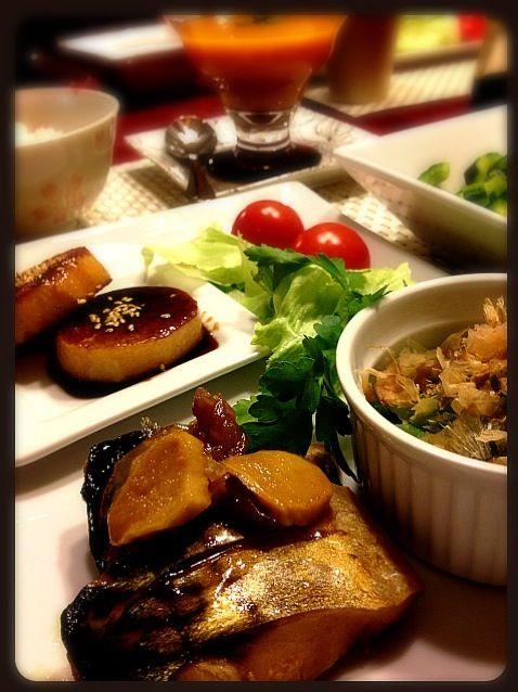 長芋ステーキ、吉田くんで味付けしました - 15件のもぐもぐ - 鯖の煮付け、長芋ステーキ、オクラ、サラダ、パンプキンスープ by Moko0610
