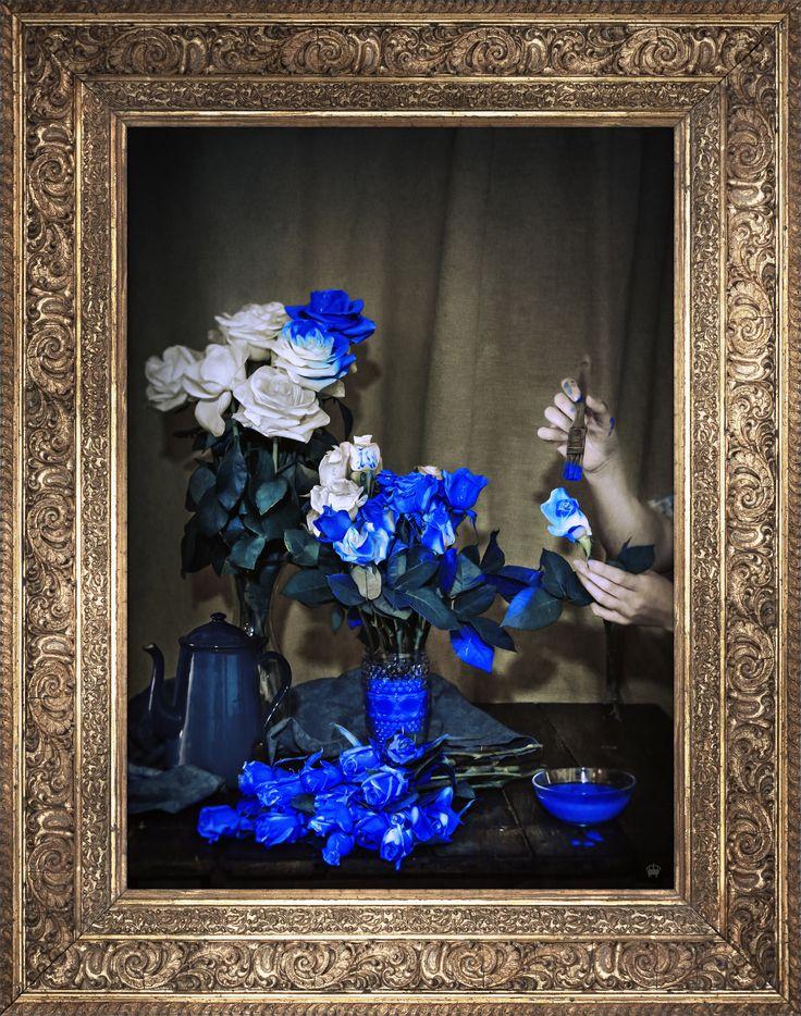 'Scent Of Cobalt' Ornate Framed Canvas Print