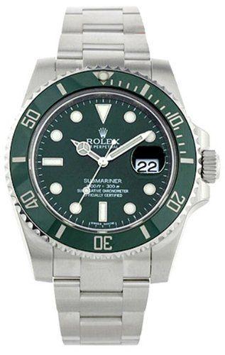 Rolex Submariner Green Dial Steel Mens Watch 116610LV: Rolex: Watches
