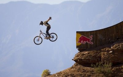 Red Bull Rampage bicycle in the air