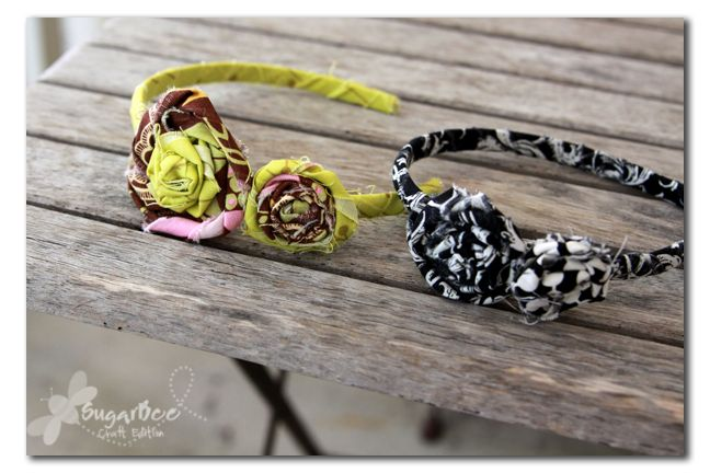 Rolled Fabric Flower Headbands
