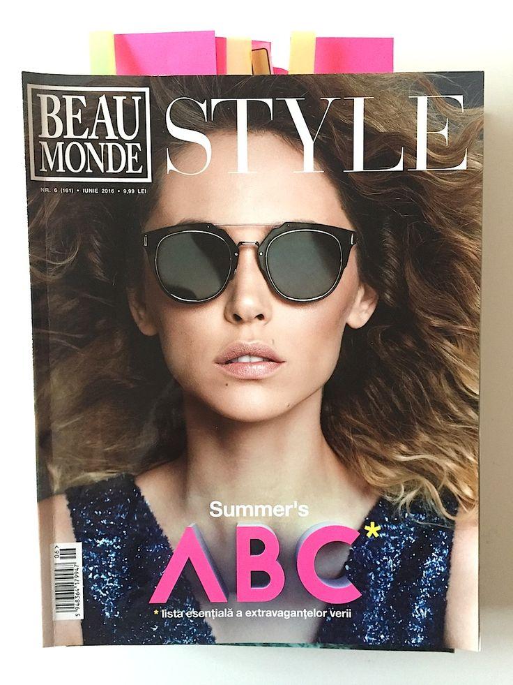 The Beau Monde cover, June 2016 issue; with Dior sunglasses from OPTIblu. Model: Andreea Matei; stylist: Daria Georgescu; photographer: Stefan Dani; make-up: Alexandra Craescu; hairstyle: Alex Claudiu Sarghie