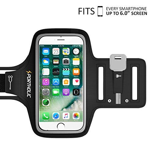 iPhone 7 Plus 6 Plus 6s Plus Armband, Portholic Workout Arm Band for Samsung Galaxy S6/S7 Edge s8/s8 Plus, LG G5, Note 2/3/4/5, Key&Cards Holders (6.0-Inch) for Running,Hiking,Biking,Walking,Jogging  FOR Apple iPhone 7plus/6splus/6plus, Samsung Galaxy S8/S8 Plus S7 S6 Edge/ Note 2/3/5 and other 5.5'' mobile phones. Fits with 5.5'' screen size phones perfectly with slim case on.  SKIN-FRIENDLY. Breathable Lycra and Neoprene provide soft, odor-free and lightweight wearing experience. Str...