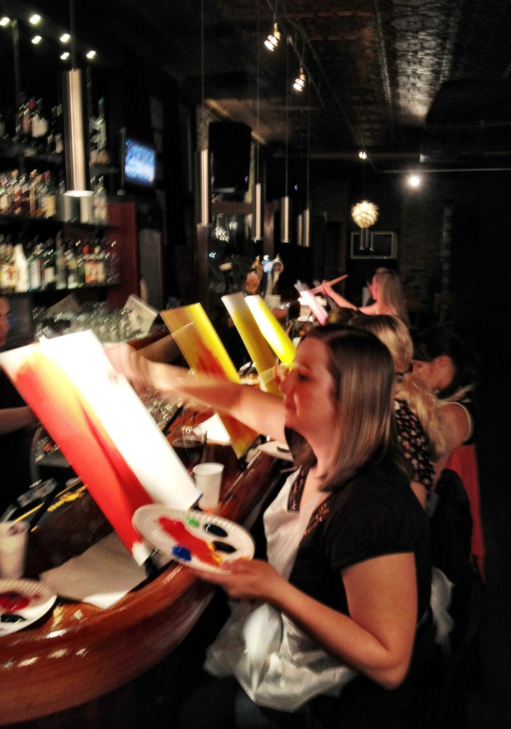 Chicago painting classes at revolver with colors bottles for Painting class chicago