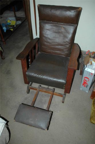 Antique Mission Oak Morris Chair Leather Recliner w Built in Foot Stool | eBay & 57 best Morris Chair images on Pinterest | Antique furniture ... islam-shia.org