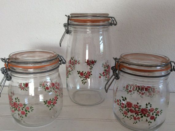 Kitchen canisters set of 3 shabby cottage by for Kitchen set 4 x 3