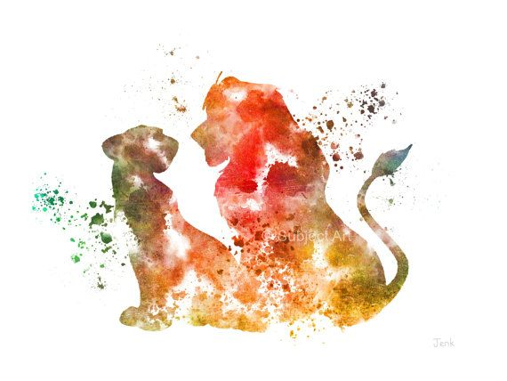 Simba and Nala, The Lion King ART PRINT illustration, Disney, Mixed Media, Home Decor, Nursery, Kid