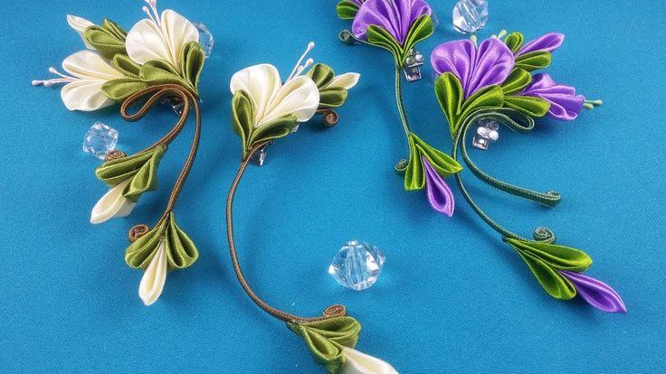 Ribbon flowers:simple&nice/Flores de cintas:bonito&sencillo/Цветы из лен...