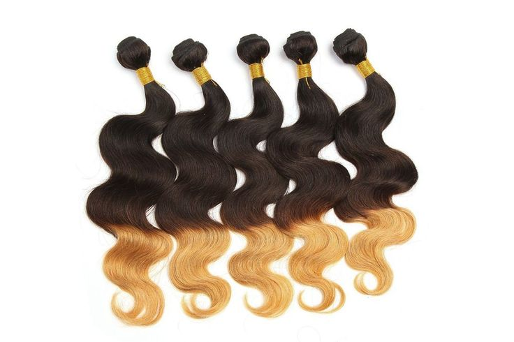 US Stock 1B/4/27# Ombre Real Human Hair Extension 50g/pcs Body Wave Hair Wefts #WIGISS #HairExtension