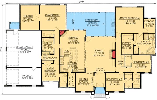 Plan 56342sm wide open spaces house plans theater and for French country house plans open floor plan