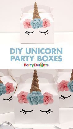 If you're planning a unicorn birthday party, these unicorn party 0oxes are the perfect way to serve your food! Simply stick our free unicorn printables onto a plain white party box and fill it with treats!