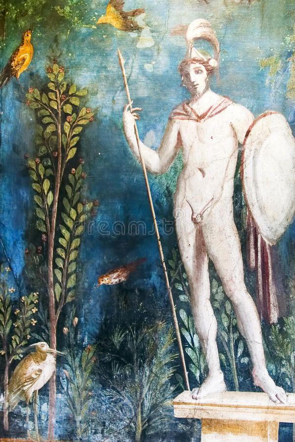 Mars God Of War Roman Painting Pompeii Roman Art
