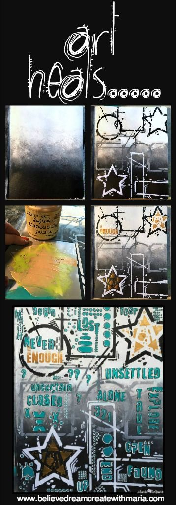 Mixed Media Art Journal Page by Maria McGuire using stencils designed by Seth Apter for StencilGirl.